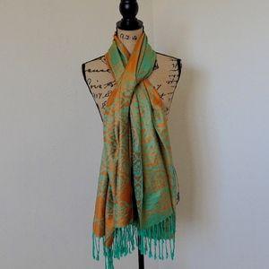 Luxurious Green Orange Fringe 100% Pashmina Scarf